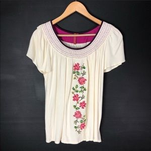 Anthropologie One September Embroidered Floral Top